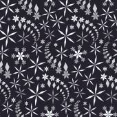 Seamless christmas pattern Crystal white and gray snowflake stars whirled silhouettes on black background Snowfall snowstorm winter New Year holiday theme texture Vector illustration
