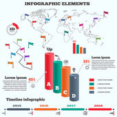 Infographics elements set Cylinder solid Three-dimensional columns chart of data world map timeline diagram with icons and shadow Four business step options Vector