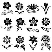 Flower set Nasturtium primula lily viola anemone crocus cornflower poppy orchid Floral black symbols with leaves May be used in cuisine Vector isolated