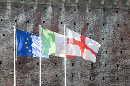 Italian and European flags