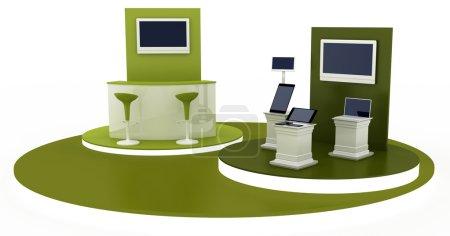 Photo pour Kiosque d'exposition vide, illustration de l'espace de copie, rendu 3D - image libre de droit