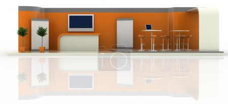 Photo for Empty exhibition booth, copy space illustration, 3d rendering - Royalty Free Image