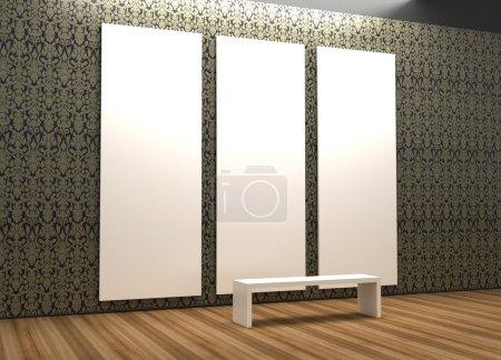 Empty museum hall, 3d rendering