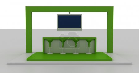 Empty exhibition booth, copy space illustration