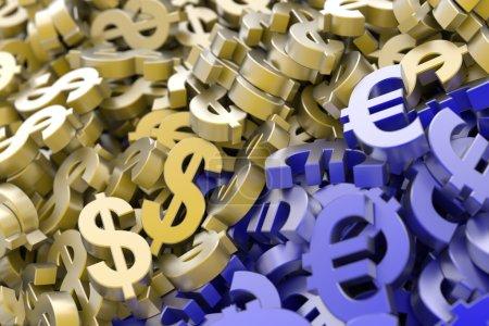 Euro and Dollar symbols background