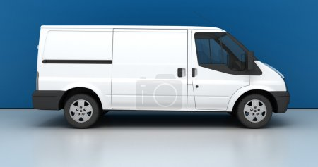 Blank white van isolated