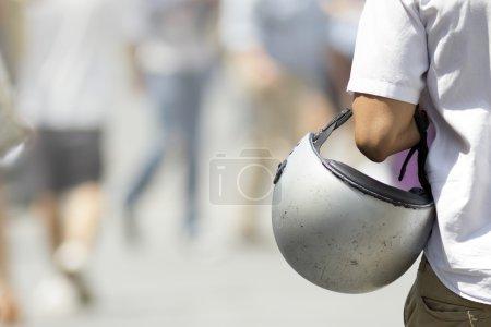 Man with his helmet