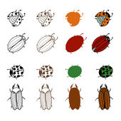 A set of colored insectsconceptsymbol