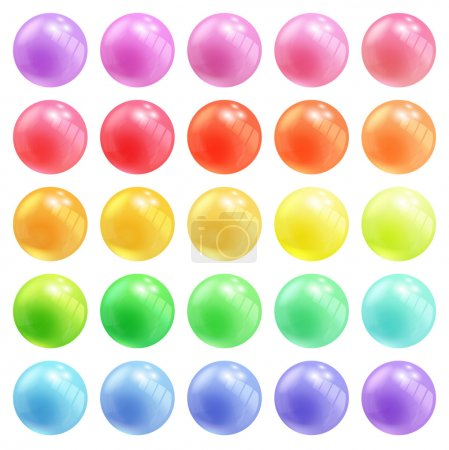 Set of colorful round vector spheres or balls in pastel colors of the rainbow with reflective shiny dimensional surfaces for celebrating Christmas New Year