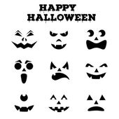Collection of Halloween pumpkins carved faces silhouettes Black and white images Vector illustration