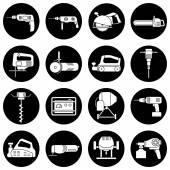 Set of flat repair tool icons