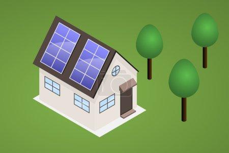 Illustration pour Maison isométrique sur pelouse avec arbres. Maison a des panneaux solaires sur le toit, capable de produire de l'électricité . - image libre de droit