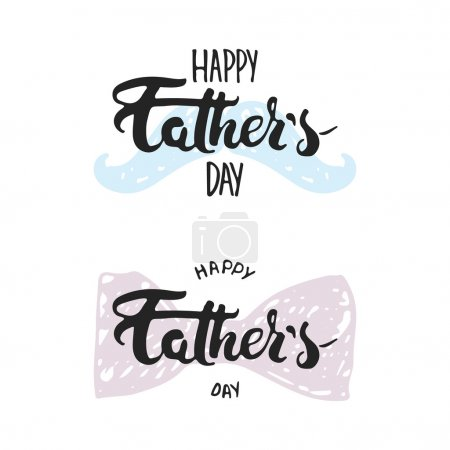 Happy Fathers day lettering calligraphy greeting card with mustache, the bow tie isolated on the white background.