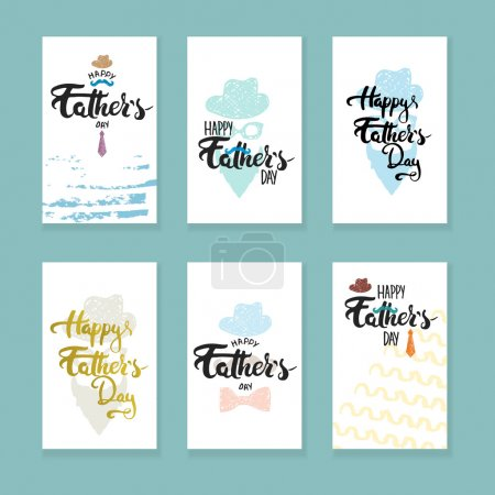 Happy Fathers day lettering calligraphy greeting cards set with hat, mustache, bow tie, glasses, tie