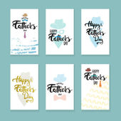 Happy Fathers day lettering calligraphy greeting cards set with hat mustache bow tie glasses tie