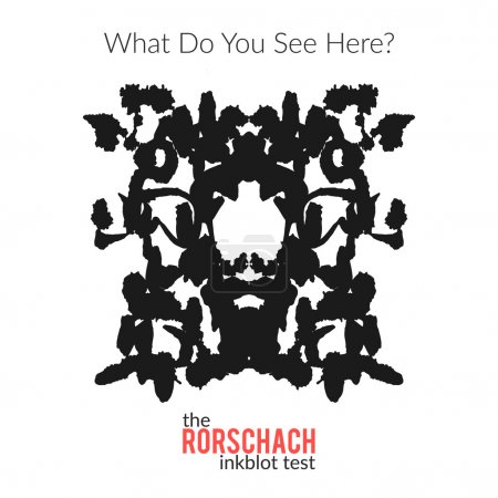 Illustration for The rorschach inkblot test vector isolated variation for psychological test for psychologists and their patients. The Rorschach technique with hand drawn ink blot used in psychology. - Royalty Free Image