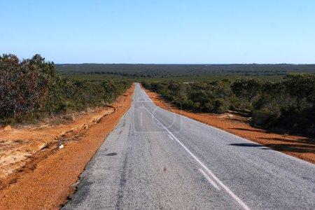 Photo pour Route isolée bordée de terre rouge et bordée de buissons menant vers l'horizon et le ciel bleu dans l'Outback Australie occidentale - image libre de droit
