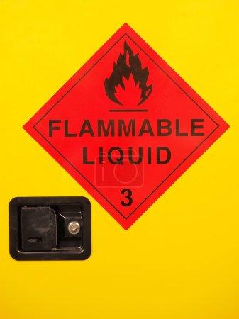 Flammable liquid cabinet door with warning sign