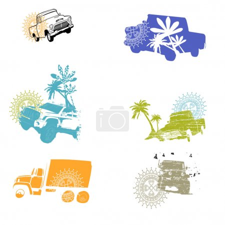 Seamless bilateral pattern with Jeeps safari
