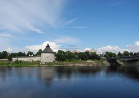 Pskov Kremlin Krom and River Great.