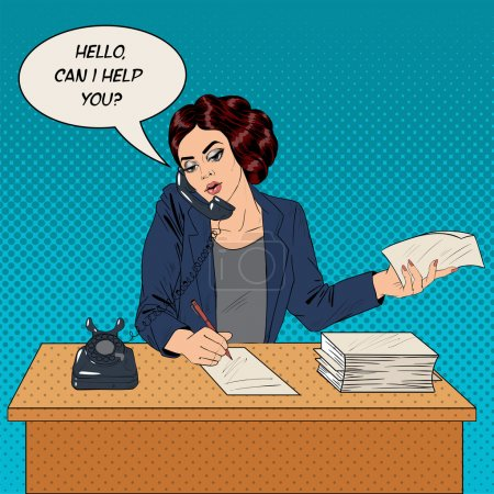 Businesswoman Pop Art Banner. Working Woman Speaking on the Phone at Office