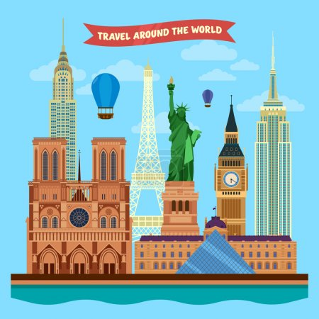 Traveling Around the World Banner with Famous Architectural Buildings