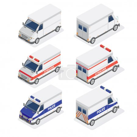 Illustration for Isometric Vans Set with Ambulance and Police Car. Vector illustration - Royalty Free Image