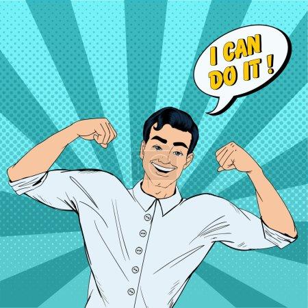 Illustration pour Succès homme fort dans le style Pop Art avec expression Je peux le faire. Illustration vectorielle dans un style comique - image libre de droit