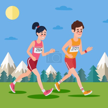 Marathon Runners. Man and Woman Running in the Woods and Mountains