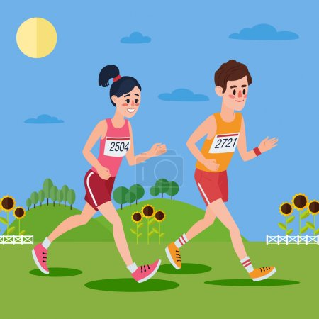 Marathon Runners. Man and Woman Running in the Hills and Sunflowers