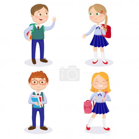 School Kids with Backpacks and Books. Happy Boys and Girls Go to School
