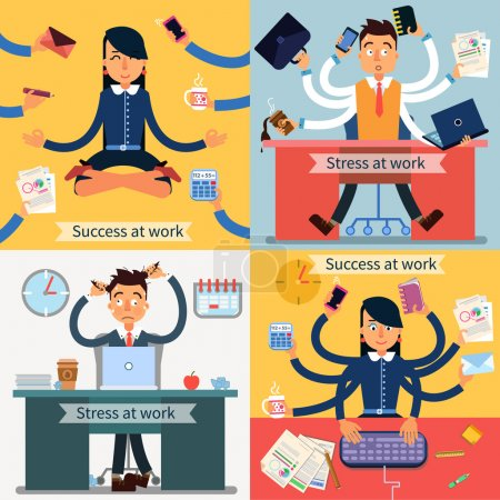 Success and Stress at Work Set of Banners. Man and Woman at Multitasking Work