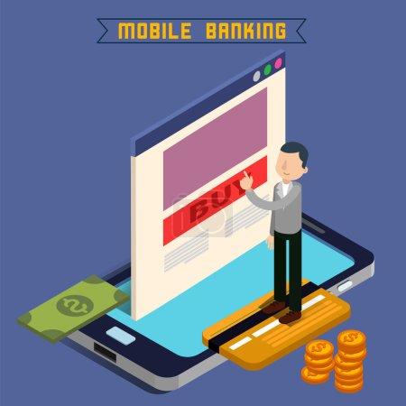 Mobile Banking. Isometric Concept. Online Payment. Mobile Payment. Money Transaction. Online Banking. Security Deposit. Finance Investment. Internet Banking. Vector illustration