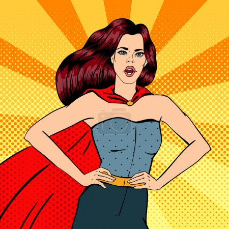 Super Woman. Female Hero. Superhero. Girl in Superhero Costume.  Pin Up Girl. Comic Style. Pop Art. Vector illustration