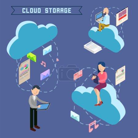 Cloud Storage. Isometric Computer Technology. Peop...