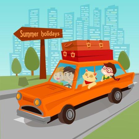 Illustration pour Voyage en voiture. Vacances d'été en famille. Famille en voiture. Illustration vectorielle - image libre de droit