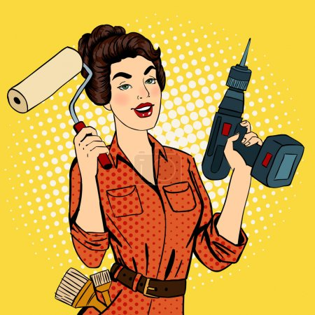 Illustration for Girl with Roller Brush and Drill. Woman Doing Repairs. Pop Art. Pin Up Girl. Vector illustration - Royalty Free Image