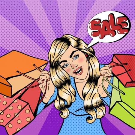 Girl with Shopping Bags. Woman on Shopping. Sale Banner. Pop Art. Vector illustration