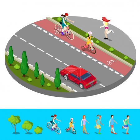Illustration for Isometric City. Bike Path with Bicyclist. Footpath with Running Woman. Vector illustration - Royalty Free Image