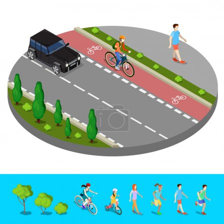 Illustration for Isometric City. Bike Path with Bicyclist. Footpath with Walking Man. Vector illustration - Royalty Free Image