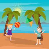 Children Sea Vacation Girl Playing Ball on the Beach Boy Launches Kite Vector illustration
