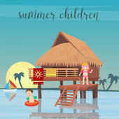 Children Sea Vacation Girl and Boy in the Beach Bungalows Vector illustration