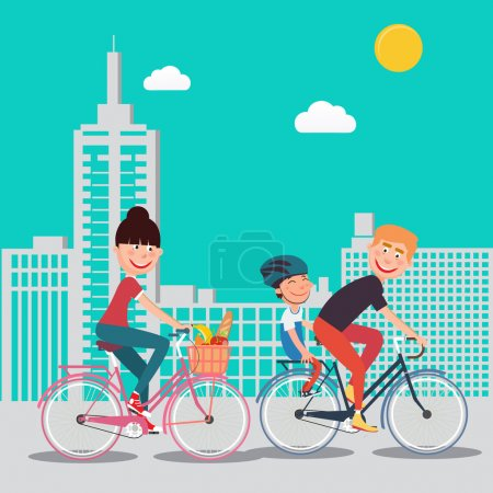 Illustration for Happy Family Riding Bikes in the City. Woman on Bicycle. Father and Son. Vector illustration - Royalty Free Image