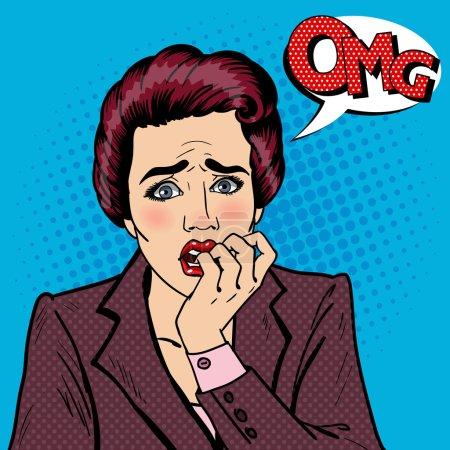 Illustration for Nervous Business Woman Biting Her Fingers. Pop Art. Vector illustration - Royalty Free Image
