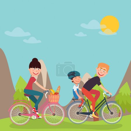 Illustration for Happy Family Riding Bikes in tho Mountains. Woman on Bicycle. Father and Son. Vector illustration - Royalty Free Image