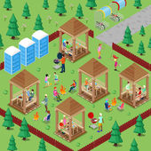 Family Grill BBQ Area in the Forest with Active People Cooking Meat and Playing Sports Isometric City Vector illustration