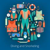 Diving and Snorkeling Icons Set with Scuba Equipment Vector illustration
