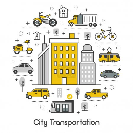 City Transportation Line Art Thin Vector Icons Set with Tram Bus and Taxi