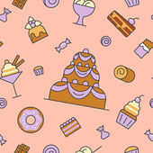 Desserts and Sweets Food Line Art Thin Vector Seamless Pattern Background with Cake and Cupcake