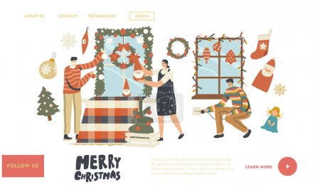 Illustration for People Prepare to Celebrate Xmas Landing Page Template. Happy Characters Decorate Home for Christmas. Family or Friends Hang Baubles, Garland and Fir Tree Wreath on Window. Linear Vector Illustration - Royalty Free Image